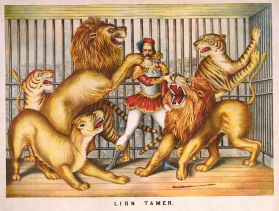 Circus lion tamer, lithograph by Gibson & Co., 1873