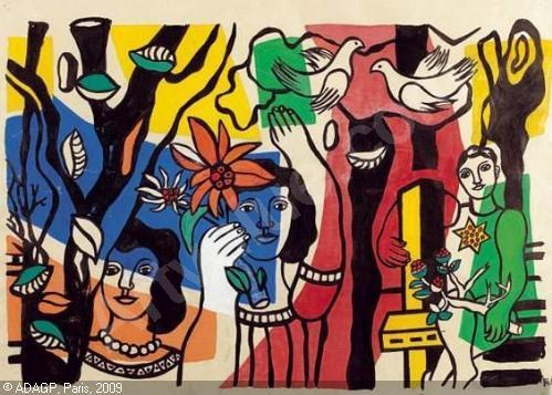 """Fernand Leger, """"Study for Women and Parrot"""" (Etude pour Femmes au Perroquet)"""