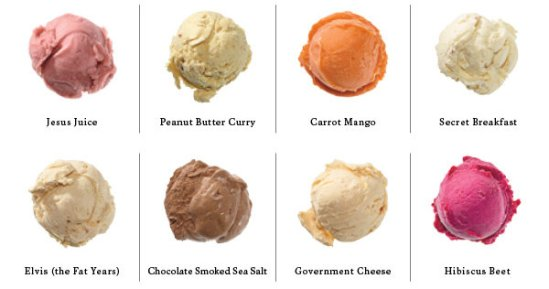 Now these are ice cream flavors we can work with