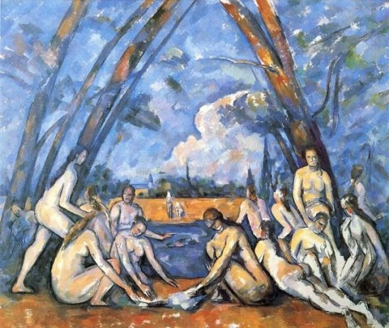 "Paul Cezanne.  The Large Bathers, 1906.  Oil on canvas, 82 7/8"" by 98 3/4"".  Philadelphia Museum of Art."