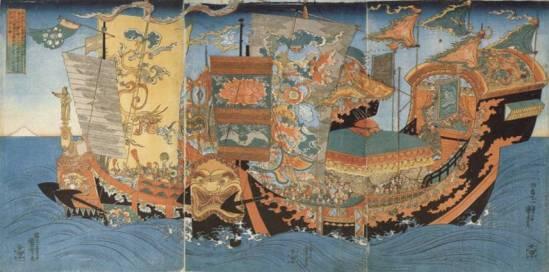 "Utagawa Kuniyoshi, c.1839-1841 - ""The great ships full of boys and girls sent in search of the immortal medicine (Hôraizan) by the Chinese Emperor Shih Huang Ti (Shikôtei), c. 219 BCE"""