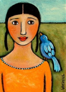 "Tascha: ""Blue Bird on my shoulder"" 2005"