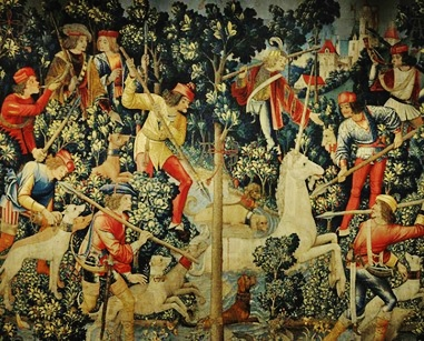 """15th/16th Century Tapestry: """"The Unicorn is Attacked"""""""