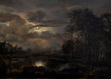 "Aert van der Neer: ""Moonlit Landscape with Bridge"" (c. 1650)"