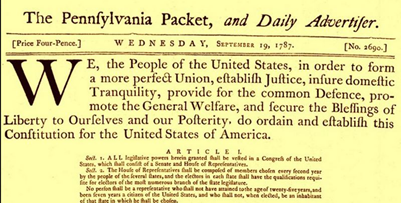 The first public printing of the U.S. Constitution