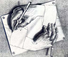 "M. C. Escher, ""Drawing Hands"" 1948"