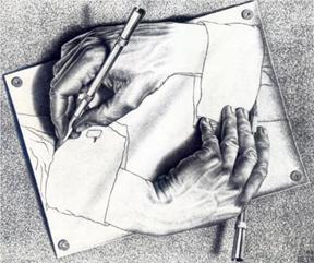 """M. C. Escher, """"Drawing Hands"""" 1948"""