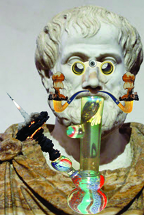 "Jogan Hesse, ""The Grateful Dead Philosophers: The Aristotle Perspective of Happiness""; digital collage"