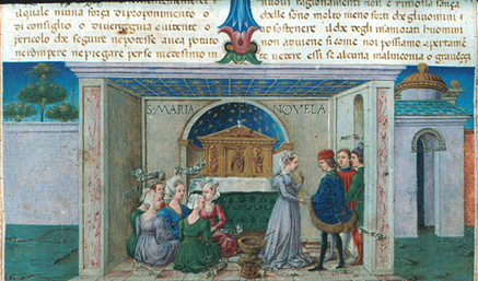 Boccaccio: The Decameron - Miniature by Taddeo Crivelli, manuscript c. 1467