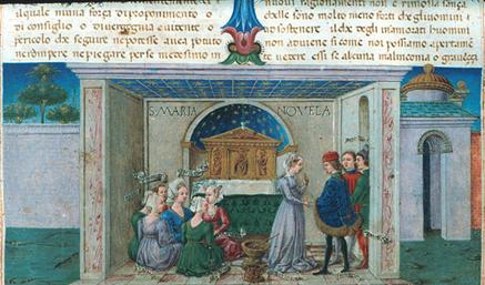 Boccaccio: The Decameron - Miniature by Taddeo Crivelli, manuscript c. 1467