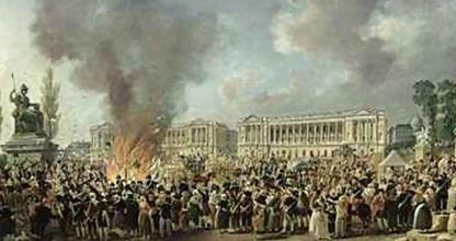 Pierre-Antoine Demachy: 'Celebration of Unity,  Destroying the emblems of monarchy,'  Place de la Concorde, 10 August 1793