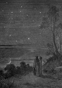 Gustave Doré: Plate 6, Inferno, Canto II: 'Day was Departing' (1857)