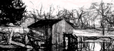 """Abandoned Boat House"" by Carrie O'Brien Sibley (modified)"