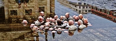 "Sculpture by Isaac Cordal: ""electoral campaign"" from the exhibit ""Follow the Leaders"""