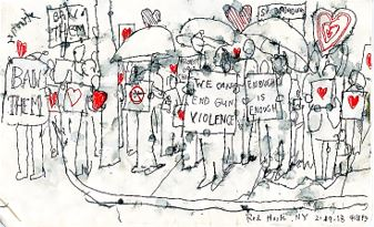 Daniel Baxter: Sketch of Vigil Honoring Victims of Gun Violence