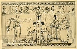 1879 etching of Pyramus and Thisbe by Max Klinger