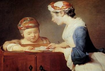 "Jean-Baptiste-Simeon Chardin: ""The Teacher""  Cover art for the Everyman edition of Rousseau's Emile"